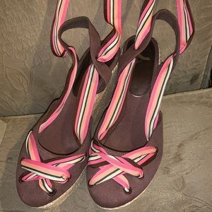 Brown espadrilles multi color tie ribbon